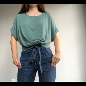 DYNAMITE | Short Sleeve Pleated Top